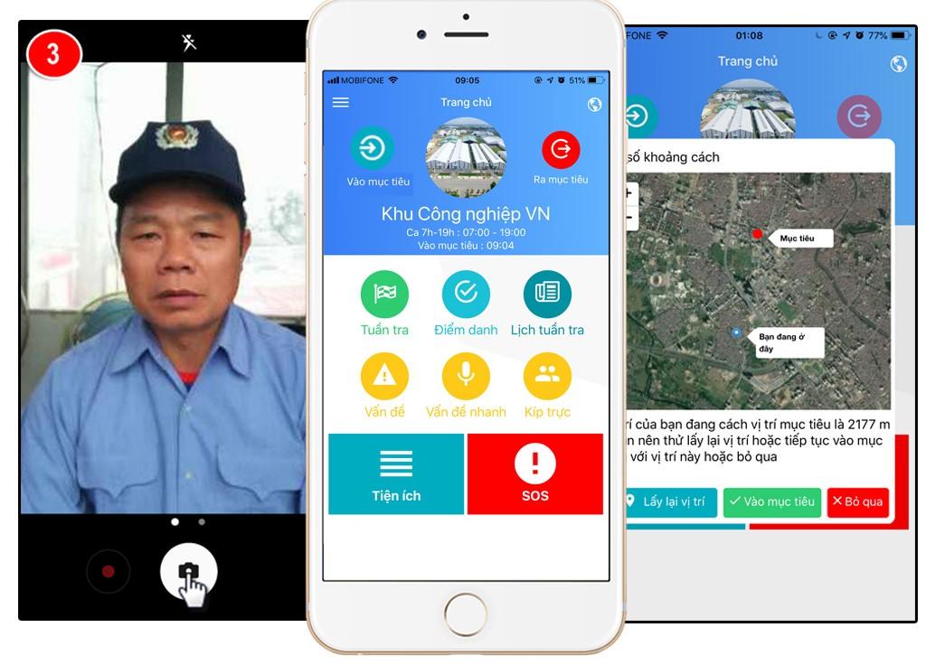 chấm công, điểm danh bằng điện thoại di động SmartGuard đối với nhân viên bảo vệ